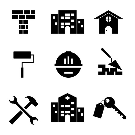 Silhouette service building icon vector flat style illustration for web, mobile, symbol, application and graphic design. Silhouette service buildings vector icon pictogram isolated on white background. Vector illustration EPS.8 EPS.10 矢量图像