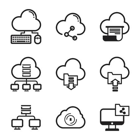 Establecer iconos lineales de computación en la nube para elemento de diseño web. Seguridad del servicio en línea. Conexión. Colección de iconos de contorno. Ilustración vectorial EPS.8 EPS.10