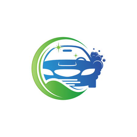 Illustration vector of a car wash for your best business symbol. Design car wash with bubble and leaf. Vector illustration EPS.8 EPS.10 Stock Illustratie