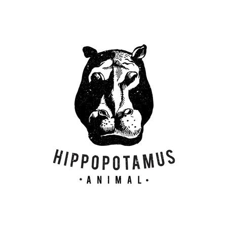 Vintage hand drawn cartoon of hippopotamus for web design symbol. Abstract hand drawn of animal. Vector illustration EPS.8 EPS.10 Vektorové ilustrace
