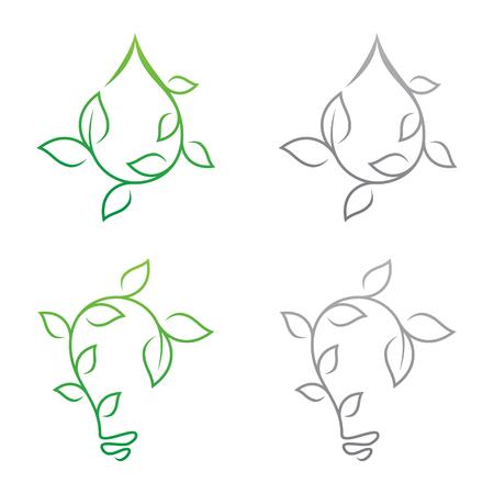Growth leaf design vector shaped droplet and bulb for element design. Vector concept design ecology. Vector illustration EPS.8 EPS.10 Illustration