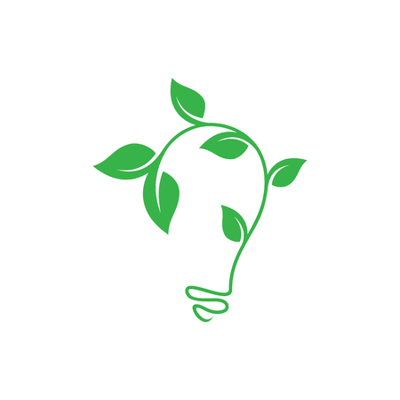Abstract leaf growth symbol design vector shaped bulb on white background. Vector concept design ecology. Vector illustration EPS.8 EPS.10