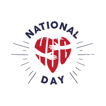 Vintage emblem National Hug Day with letter hug shaped love and hand. Vector emblem for element design.