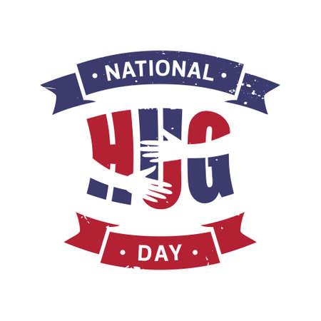 Vintage National Hug Day with letter hug. Vector emblem for element design.