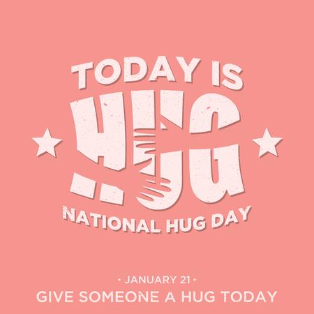 Vintage flat design quote National Hug Day. Vector emblem for element design. Vector illustration EPS.8 EPS.10