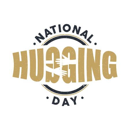 Vintage emblem National Hugging Day vector emblem. Vector emblem for element design. Vector illustration EPS.8 EPS.10