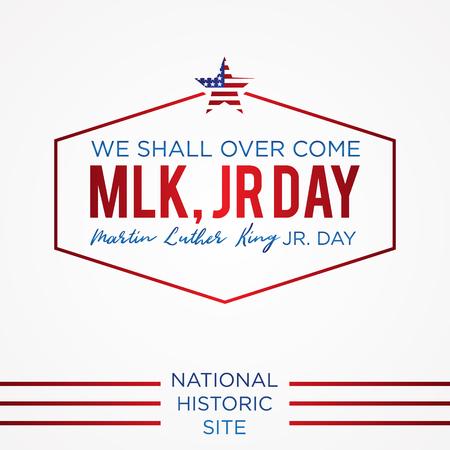 Simple letter emblem Martin Luther King Jr. day or MLK JR. Day inside the hexagon line. Design element greeting card, banner, poster, background and etc. Vector illustration EPS.8 EPS.10 Illustration