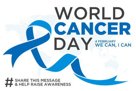 World cancer day lettering element design with blue color ribbon on white background. Vector illustration of World Cancer Day with ribbon and text. Vector illustration EPS.8 EPS.10