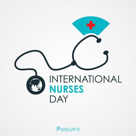 Design della lettera per la Giornata internazionale degli infermieri su fondo bianco. Infermiera internazionale per la progettazione di elementi. Illustrazione vettoriale EPS.8 EPS.10