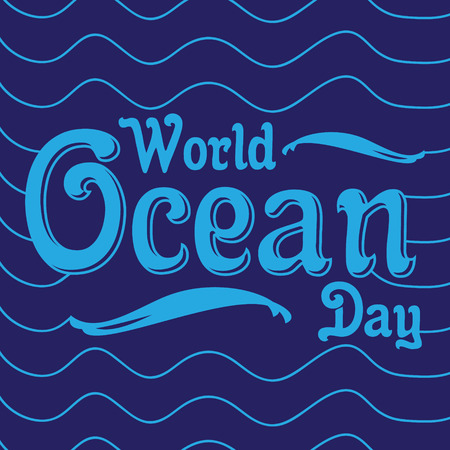 Word letter world ocean day with line wave on the blue background. World environment day element design. Vector illustration EPS.8 EPS.10 Foto de archivo - 119349002
