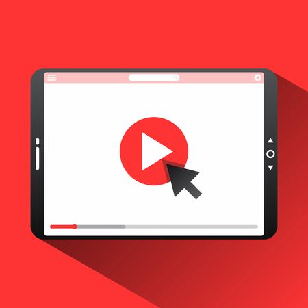 Fare clic su riproduci qui la miniatura del vettore del video per aprire lo sfondo del video. Icona di videoconferenza e webinar, servizi internet e video. Illustrazione vettoriale EPS.8 EPS.10