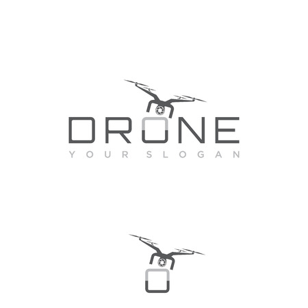Design flying drone on the font o for your best business symbol. Drone symbol design element. Vector illustration EPS.8 EPS.10 Ilustracja