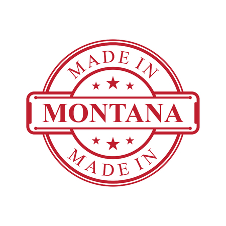 Made in Montana label icon with red color emblem on the white background. Vector quality logo emblem design element. Vector illustration EPS.8 EPS.10