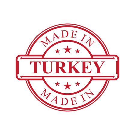 Made in Turkey label icon with red color emblem on the white background. Vector quality logo emblem design element. Vector illustration EPS.8 EPS.10