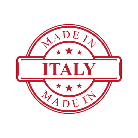 Made in Italy label icon with red color emblem on the white background. Vector quality logo emblem design element. Vector illustration EPS.8 EPS.10 Illustration