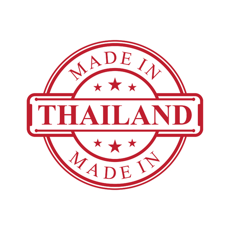 Made in Thailand label icon with red color emblem on the white background. Vector quality logo emblem design element. Vector illustration EPS.8 EPS.10