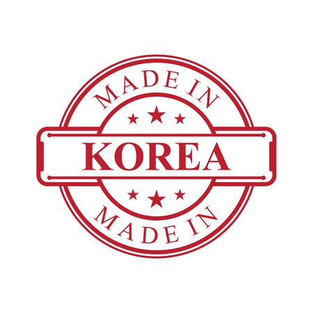 Made in Korea label icon with red color emblem on the white background. Vector quality logo emblem design element. Vector illustration EPS.8 EPS.10