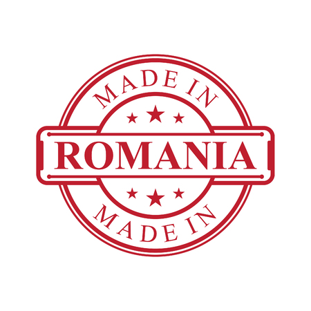 Made in Romania label icon with red color emblem on the white background. Vector quality logo emblem design element. Vector illustration EPS.8 EPS.10