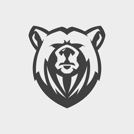 Bear head mascot vector for emblem design with color grey. Wild animal silhouette of head bear for element design. Vector illustration EPS.8 EPS.10