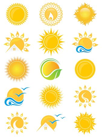 Fije el símbolo del icono del sol del vector para el diseño del elemento en el fondo blanco. Colección de plantilla de diseño de símbolo de sol en estilo plano. Ilustración vectorial