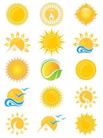 Imposta il simbolo dell'icona del sole vettoriale per il design dell'elemento sullo sfondo bianco. Raccolta di modello di disegno di simbolo del sole in stile piano. Illustrazione vettoriale