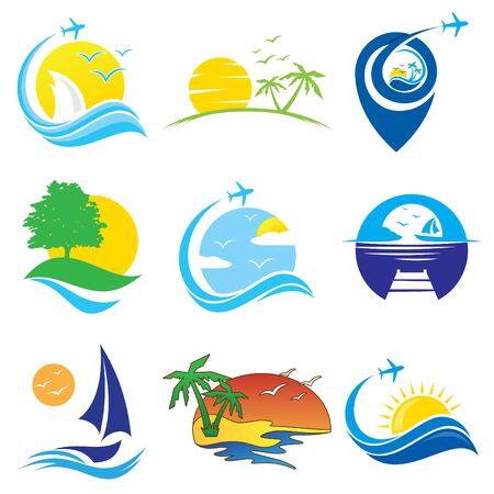 Conjunto de símbolo de icono de vector de viaje colorido para diseño de elemento sobre fondo blanco. Colección de plantilla de diseño de símbolo de viaje en estilo plano. Ilustración vectorial