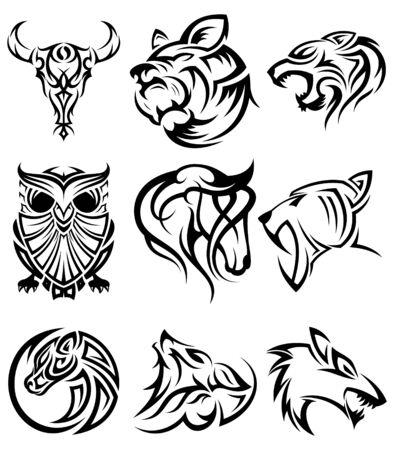 Insieme di simbolo dell'icona di vettore testa animale tribale per elemento di design su fondo bianco. Raccolta di modello di disegno di simbolo di testa animale in stile piano. Illustrazione vettoriale