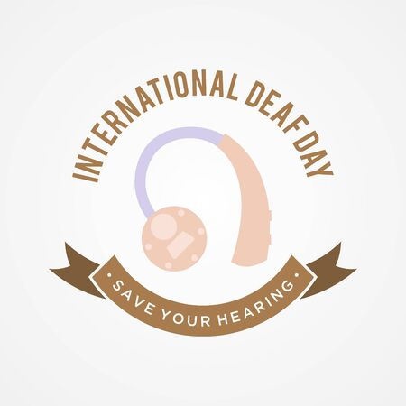 International Deaf Day emblem concept background in flat style. Holidays around the world of Deaf Day. Vector illustration