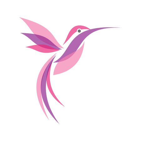 Colorful fliying Hummingbird in flat style for your best business icon symbol. Hummingbird vector symbol for element design. Vector illustration Illustration