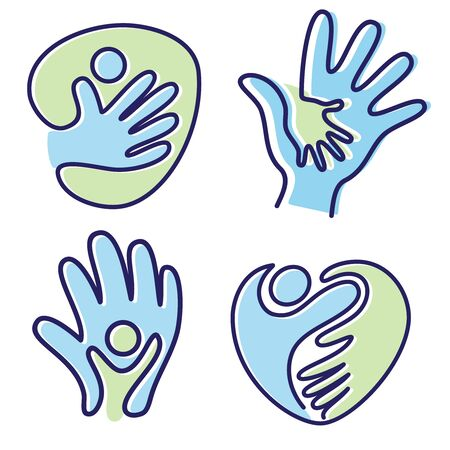 Set of pictogram icon vector people hand icon symbol with bold outline. Colorful icon flat style icon symbol. Vector illustration EPS.8 EPS.10