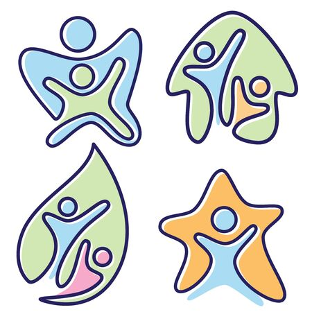 Set of colorful pictogram icon vector people in different design. Colorful icon flat style icon symbol. Vector illustration EPS.8 EPS.10