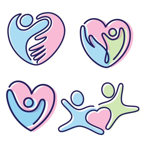 Set of colorful pictogram vector people shaped heart icon symbol. Colorful icon flat style icon symbol. Vector illustration EPS.8 EPS.10