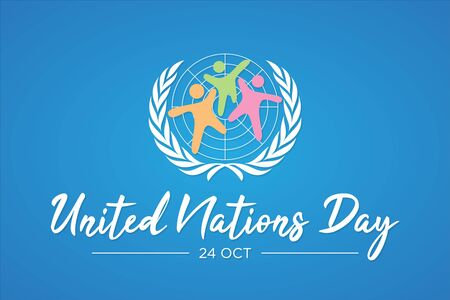 United nation day letter vector with abstract people. United nation day text banner. Vector illustration EPS.8 EPS.10