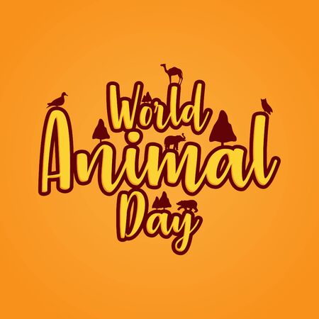 World Animal Day 4 October. Banner World animal day with wild animals. Animals on the planet, animal shelter, wildlife sanctuary. World Environment Day. Vector illustration EPS.8 EPS.10