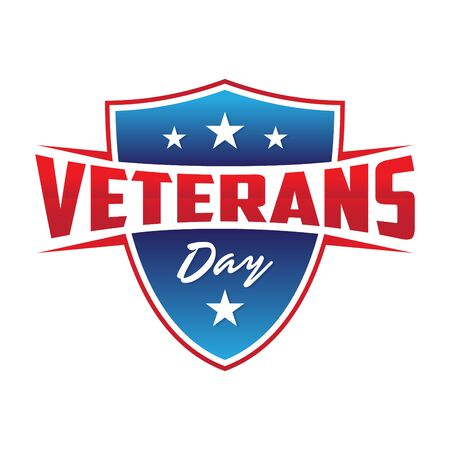 Modern design Veterans day concept background with shield and stars. Illustration of Veterans day vector concept background for web design. Vector illustration EPS.8 EPS.10