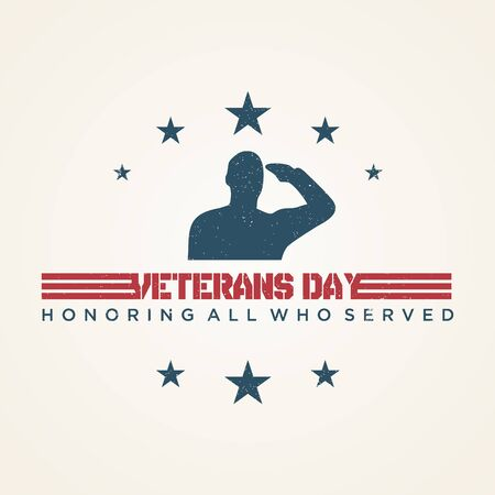Vintage design Veterans day concept background. Illustration of Veterans day vector concept background for web design. Vector illustration EPS.8 EPS.10  イラスト・ベクター素材
