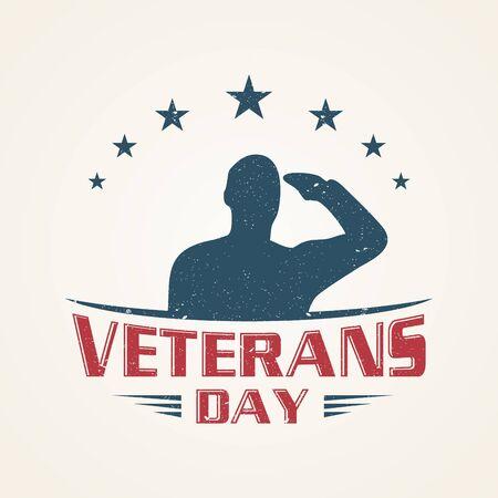 Vintage emblem design Veterans day concept background. Illustration of Veterans day vector concept background for web design. Vector illustration EPS.8 EPS.10  イラスト・ベクター素材