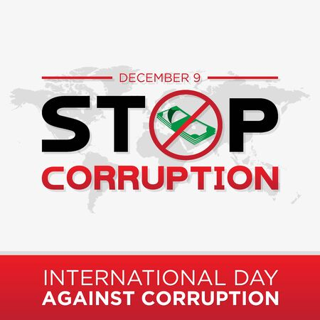 Stop corruption for International Day Against Corruption. Design International Day Against Corruption poster or banner vector background. Vector illustration EPS.8 EPS.10 Illusztráció