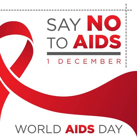 Say no to AIDS letter for World AIDS Day with red ribbon. Aids Awareness icon design for poster, banner, t-shirt. Vector illustration EPS.8 EPS.10