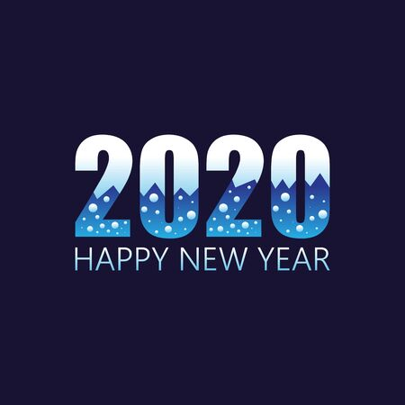 2020 Happy  New Year insta color banner winter style. 2020 design greetings, invitations and banner or background. Vector illustration EPS.8 EPS.10