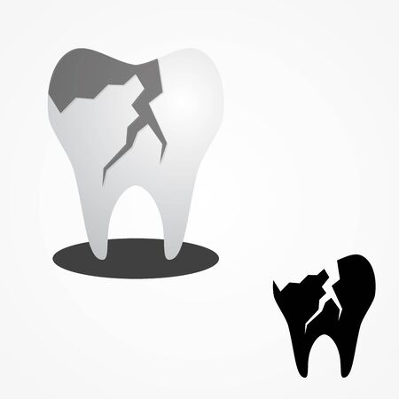 Cracked tooth flat icon for dental care. Cracked tooth for element design. Vector illustration