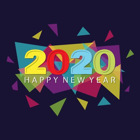 Happy 2020 new year insta colour banner for your seasonal holidays. Design background 2020. Vector illustration EPS.8 EPS.10 Ilustrace
