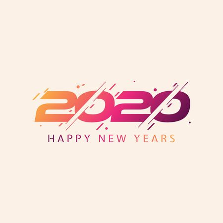 Modern and colorful design 2020 happy new year design template for element design. Design for calendar, greeting cards or print. Vector illustration EPS.8 EPS.10