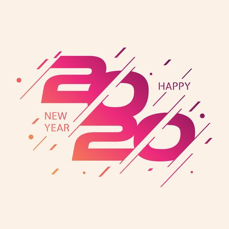 Modern and colorful design 2020 happy new year design template for element design. Design for calendar, greeting cards or print. Vector illustration