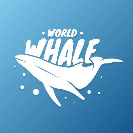 Vector design whale for world whales day sign symbol. Vector design background for element design. Vector illustration