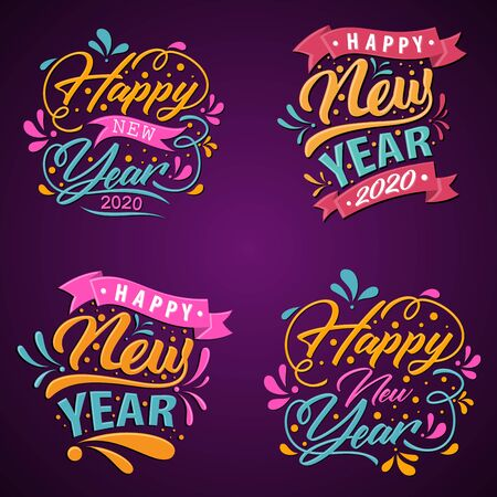 Set of Happy 2020 new year insta color banner for your seasonal holidays. Letter design background 2020. Vector illustration