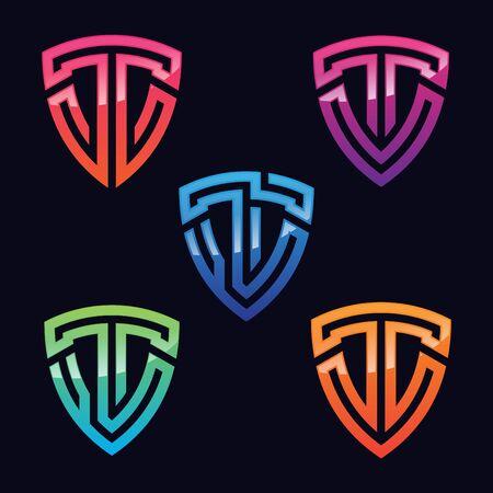 Set of T letter symbol shaped shield. Technology letter symbol. Vector illustration EPS.8 EPS.10