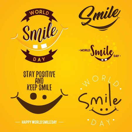 Set of funny emblem design World Smile Day vector on the yellow background. Letter vector World Smile Day for element design. Vector illustration EPS.8 EPS.10