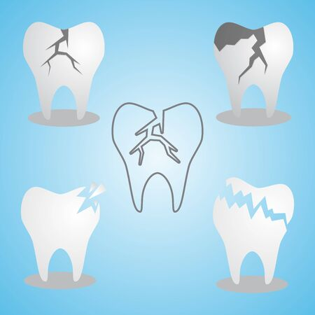 Set of cracked tooth flat icon for dental and medicine. Dental problem. Fractured and chipped teeth. Vector illustration EPS.8 EPS.10 Ilustrace