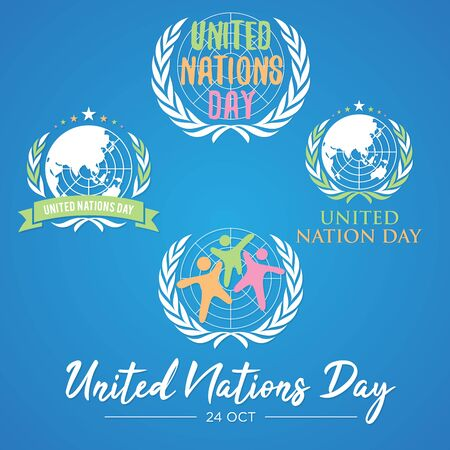 Set of colorful letter United Nation Day vector in flat style. United nation day text banner. Vector illustration EPS.8 EPS.10